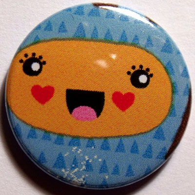 Blue & Orange Face Cute Smiley Badge 25mm