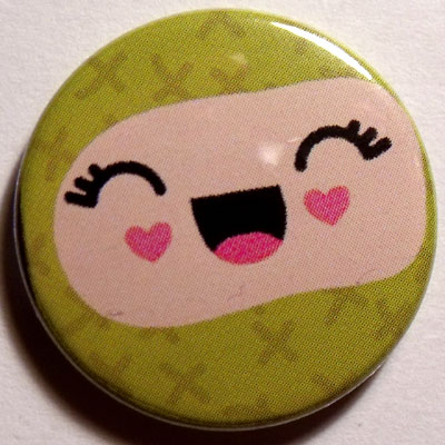 Green & Pink Face Cute Smiley Badge 25mm