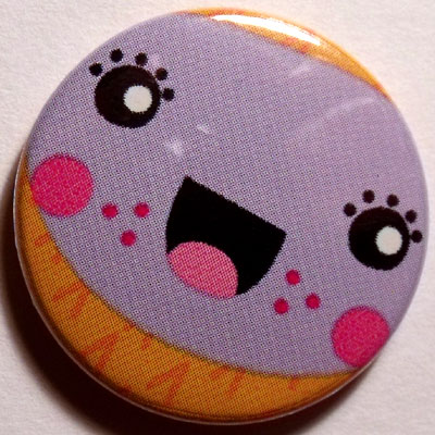 Purple & Orange Face Cute Smiley Badge 25mm