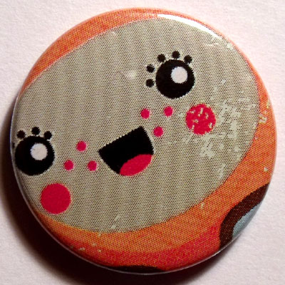 Orange & Gray Face Cute Smiley Badge 25mm