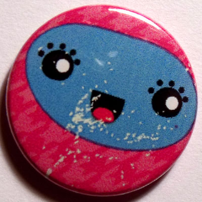 Pink & Blue Face Cute Smiley Badge 25mm