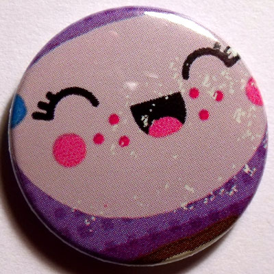 Purple & Lilac Face Cute Smiling Badge 25mm