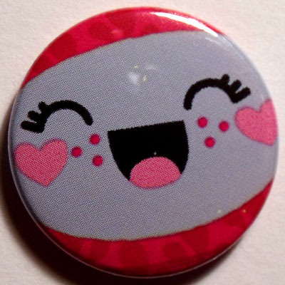 Red & Gray Face Cute Smiley Badge 25mm