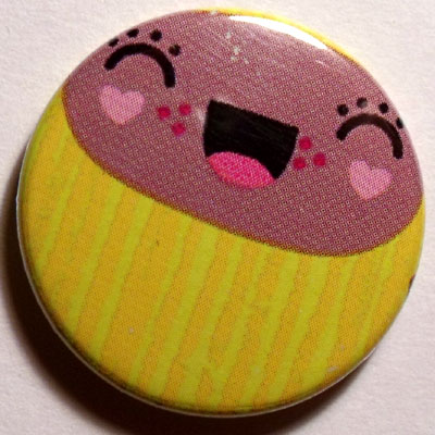 Yellow & Pink Face Cute Smiley Badge 25mm
