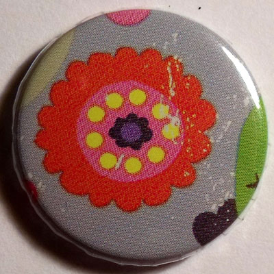 Orange Flower Cute Badge 25mm