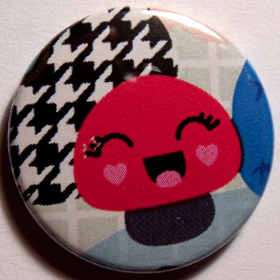 Mushroom 2 Cute Smiley Badge 25mm