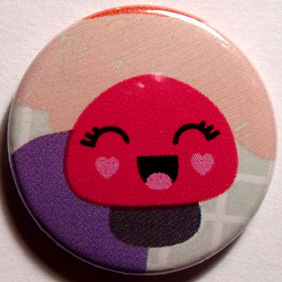 Mushroom 3 Cute Smiley Badge 25mm