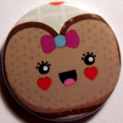 Brown Toast Cute Smiley Badge 25mm