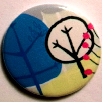 Trees 3 Cute Smiley Badge 25mm