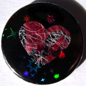 Black Hologram & Pink Heart 25mm Button Badge
