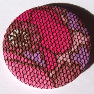 Pink & Net Floral Fabric 45mm Badge