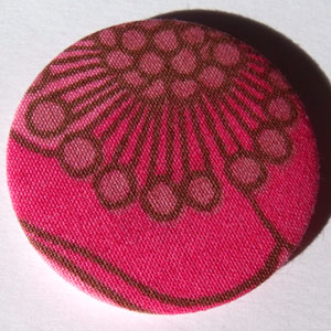 Pink Floral Fabric 45mm Badge