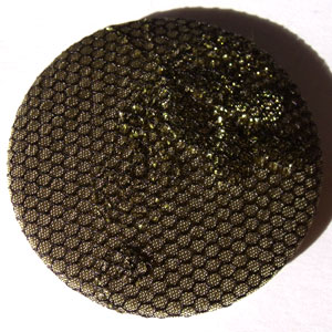 Olive Gold & Net Floral Fabric 45mm Badge
