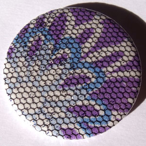Blue, Purple, White & Net Floral Fabric 45mm Badge