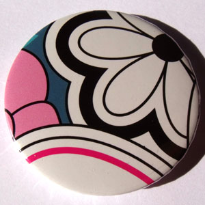 White Black Pink Blue Bold Floral 45mm Badge