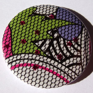 White Black Green Purple Net Bold Floral 45mm Badge