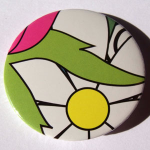 White Black Green Yellow Bold Floral 45mm Badge
