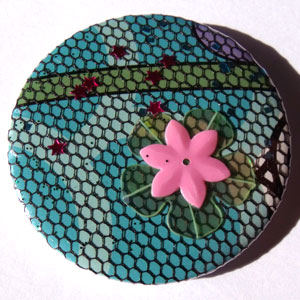 Blue Net Bold Floral 45mm Badge