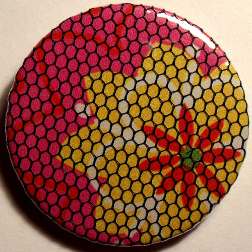 Pink Yellow Bright Floral Net 38mm Badge