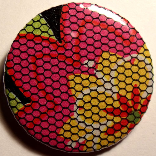 Pink Yellow Black Bright Floral Net 38mm Badge