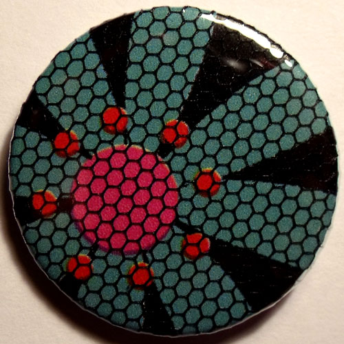Blue Pink Black Bright Floral Net 38mm Badge