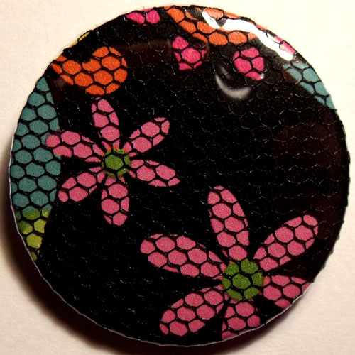 Black Pink Bright Floral Net 38mm Badge