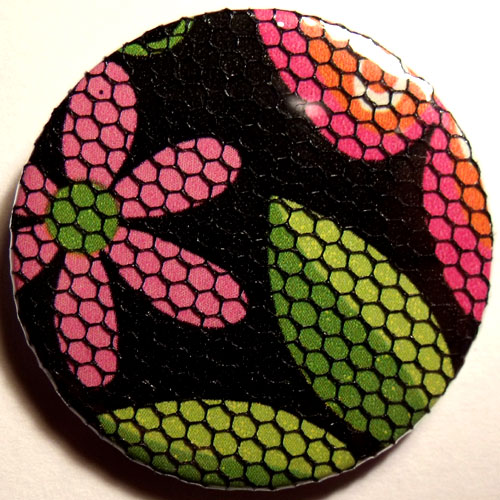 Pink Green Black Bright Floral Net 38mm Badge