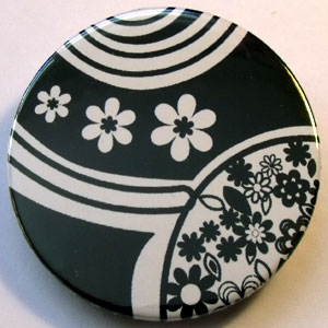 Black & White Floral 38mm Badge 11