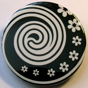 Black & White Floral 38mm Badge 14