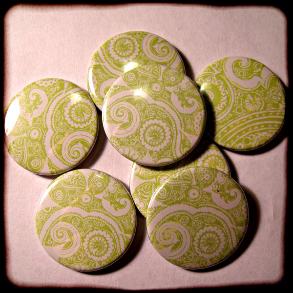 Green Abstract Floral Paisley 25mm Button Badge