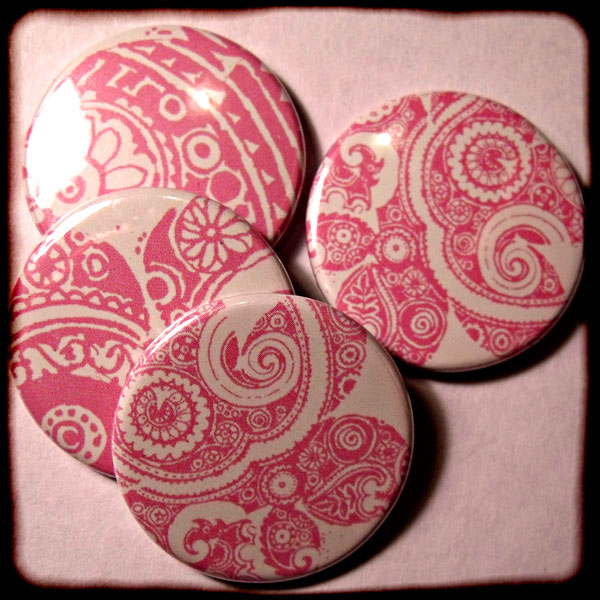 Light Pink Abstract Floral Paisley 25mm Button Badge