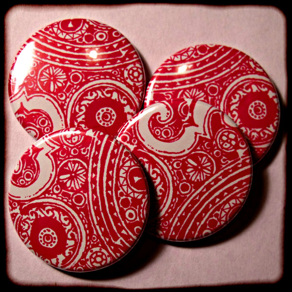 Bright Pink Abstract Floral Paisley 25mm Button Badge