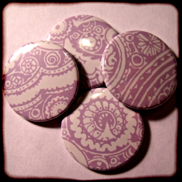 Purple Abstract Floral Paisley 25mm Button Badge