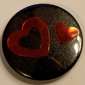 Black & Red Heart 25mm Button Badge