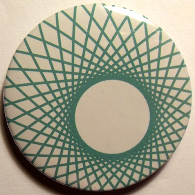 Green & White Spirograph 45mm Badge