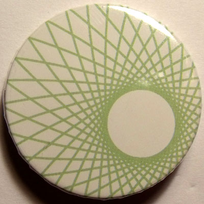 Green & White Spirograph 38mm Badge