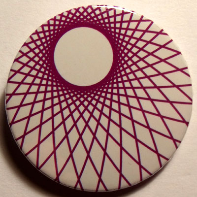 Purple & White Spirograph 38mm Badge