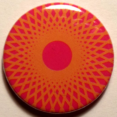Orange & Pink Spirograph 25mm Button Badge