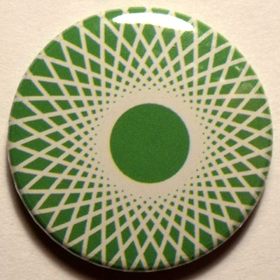 Green & White Spirograph 25mm Button Badge