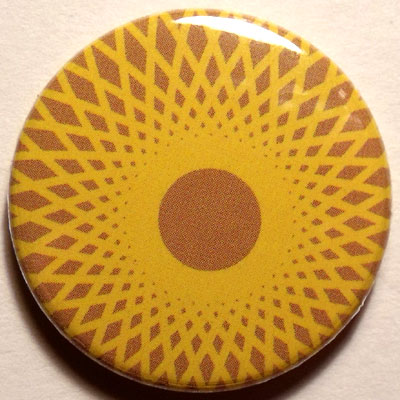 Yellow & Brown Spirograph 25mm Button Badge