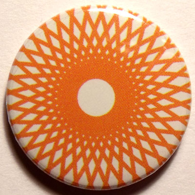 Orange & White Spirograph 25mm Button Badge