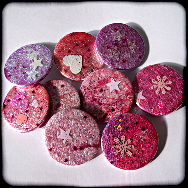 Sparkly Pink Angelina 38mm Badge