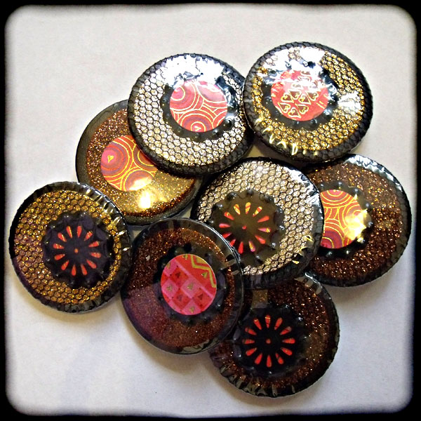 Sparkly Red, Black & Copper/Bronze/Gold 38mm Badge