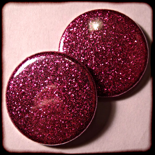 Bright Pink Sparkly Glitter Badges - 3 Sizes