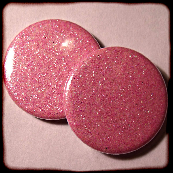 Light Pink Sparkly Glitter Button Badges - 3 sizes