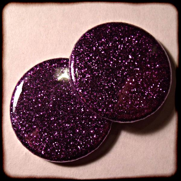Purple Sparkly Glitter Badges - 3 Sizes
