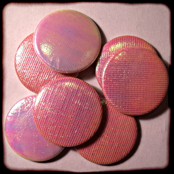 Iridescent Pink Sparkly Fabric 25mm Button Badge