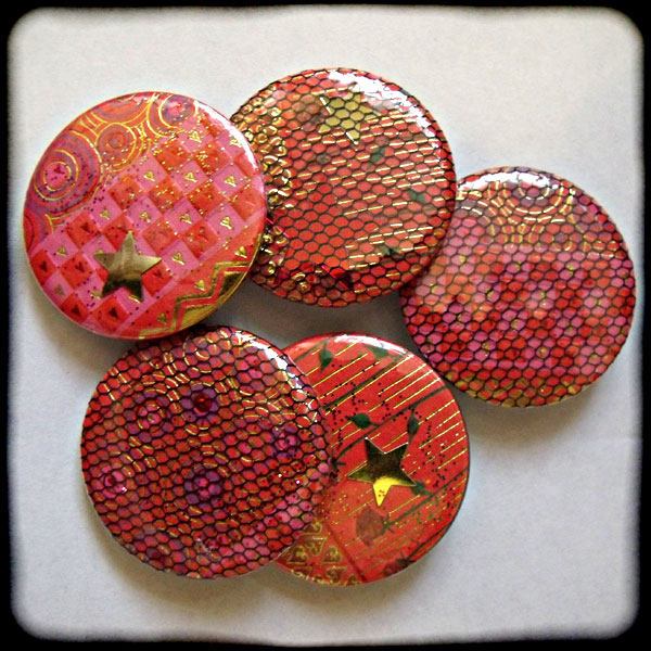 Sparkly Red, Pink & Gold 38mm Badge