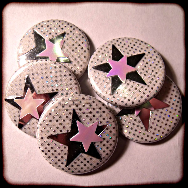 Silver Hologram Sparkly Fabric & Stars 25mm Button Badge