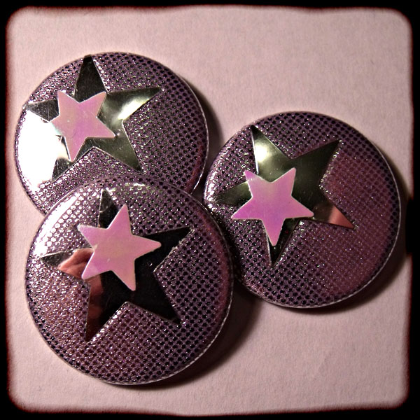 Purple Sparkly Fabric & Stars 25mm Button Badge
